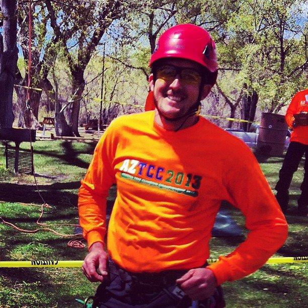 Daniel Stevens after winning the 2013 ACTC Tree Climbing Championship